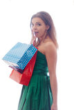 Shopaholic shopping woman. Shopper. Shopaholic shopping woman holding many shopping bags excited Stock Photography