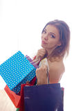 Shopaholic shopping woman Royalty Free Stock Photography