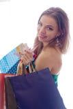 Shopaholic shopping woman Royalty Free Stock Photos
