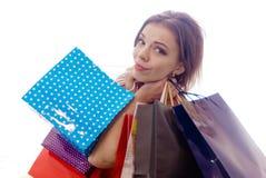shopaholic shoppingkvinna Arkivfoto