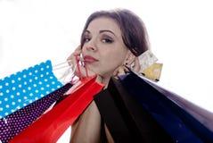 shopaholic shoppingkvinna Arkivfoton