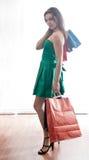 shopaholic shoppingkvinna Royaltyfri Foto