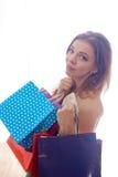 shopaholic shoppingkvinna Royaltyfri Fotografi