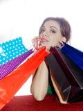 shopaholic shoppingkvinna Fotografering för Bildbyråer