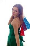 shopaholic shoppingkvinna Royaltyfria Foton