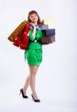 Shopaholic woman Royalty Free Stock Images