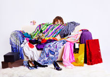 Shopaholic woman Stock Images