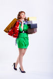 Shopaholic woman Royalty Free Stock Images