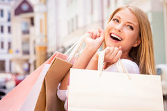 Shopaholic woman. Stock Images