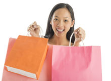 Shopaholic Woman Carrying Shopping Bags Stock Photos