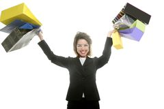 Shopaholic woman with colorful shopping bags hands Stock Photo