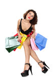 Shopaholic woman with happy face Royalty Free Stock Photos