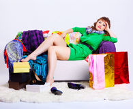 Shopaholic woman with purchases Royalty Free Stock Image