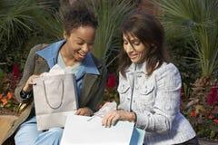 Shopaholic Women Checking Bags Stock Photography