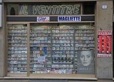 Shopfenster des musikalischen Speichers Stockfotografie