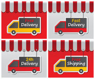 Shopfront delivery signs. Paper delivery signs on red and white background with awning Stock Images