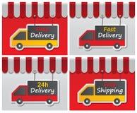 Shopfront-Lieferungszeichen Stockbilder