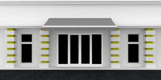Shopfront. Serie. Shopfront. White Gray building exterior shopwindow with awning and windows empty for your product presentation, paste your shop, boutique Stock Photography