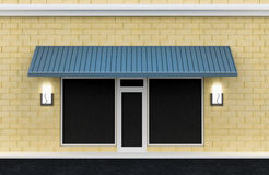 Shopfront. Shop exterior. Shopfront. Building exterior shopwindow with hanger awning and windows empty for your product presentation, paste your shop, boutique stock illustration