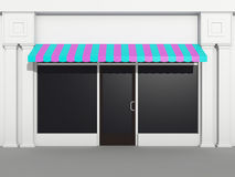 Shopfront - store front. Classic facade of a shop with large windows and door in the middle vector illustration
