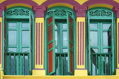 Shophouse Shutters. Colorful shutters in Singapore's Chinatown Royalty Free Stock Photography