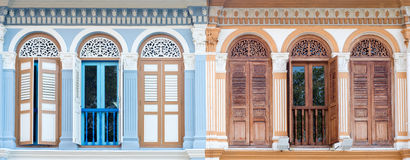 Shophouse Windows Panorama, Singapore Stock Photography
