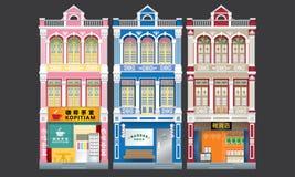 Shophouses à trois niveaux de style colonial coloré et historique D'isolement illustration de vecteur