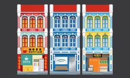Shophouses à trois niveaux de style colonial coloré et historique D'isolement illustration stock