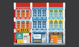 Shophouses à trois niveaux de style colonial coloré et historique joint illustration de vecteur
