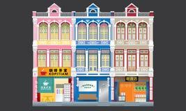 Shophouses à trois niveaux de style colonial coloré et historique joint illustration stock