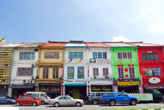 Shophouses alla città di Kuching. Immagini Stock Libere da Diritti