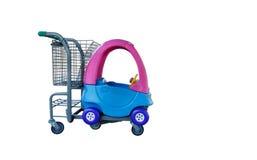 Shoping καροτσάκι κάρρων αγορών με το αυτοκίνητο για την οικογένεια και το παιδί Στοκ Εικόνες