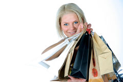 SHOPING. Happy young woman with bags Stock Photography