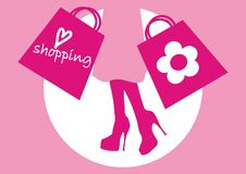 Shoping. Pink women silhouette graphic illustration Royalty Free Stock Images