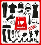 Shoping background set Stock Photos