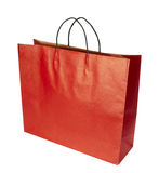 Shoping bag consumerism retail. Close up of shopping bag on white background with clipping path Royalty Free Stock Image
