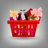 Shoping cart with Christmas gifts. Royalty Free Stock Images