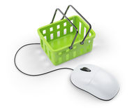 Shoping cart and computer mouse Stock Image