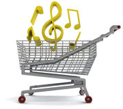 Shoping cart full of music on white Royalty Free Stock Images