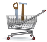 Shoping cart with hammer and saw on white Stock Image