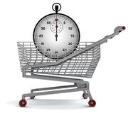 Shoping cart with stopwatch on white Royalty Free Stock Photos