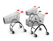 Shoping carts over white Stock Photos