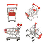 Shoping carts. Set of four shoping carts isolated on white Royalty Free Stock Photo