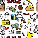 Shoping handlu detalicznego pojęcie bezszwowy Obrazy Stock