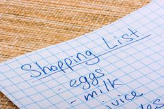 Shoping list Stock Photography