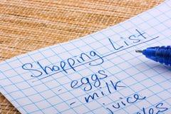 Shoping list Stock Photo