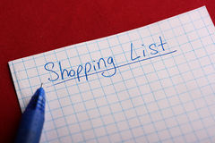 Shoping list Stock Image