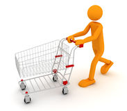 Shoping Man. The person does purchase. 3D render royalty free illustration