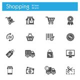 Shoping, storeflat gray icons set of 16. On white background vector illustration