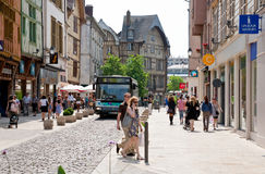 Shoping street in Troyes, France Royalty Free Stock Photos